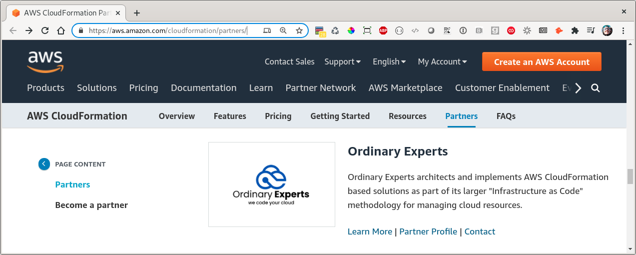 Ordinary Experts on the AWS CloudFormation Partner page